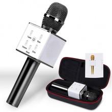 Беспроводной Караоке микрофон колонка Wster Bluetooth FanMusic Q7 Black с чехлом