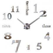 3D Часы настенные 130 см зеркальные наклейки Best Time серебристые